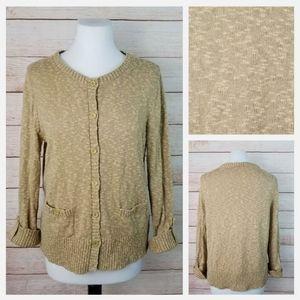 Jones New York XL Tan Burnout Cardigan Sweater